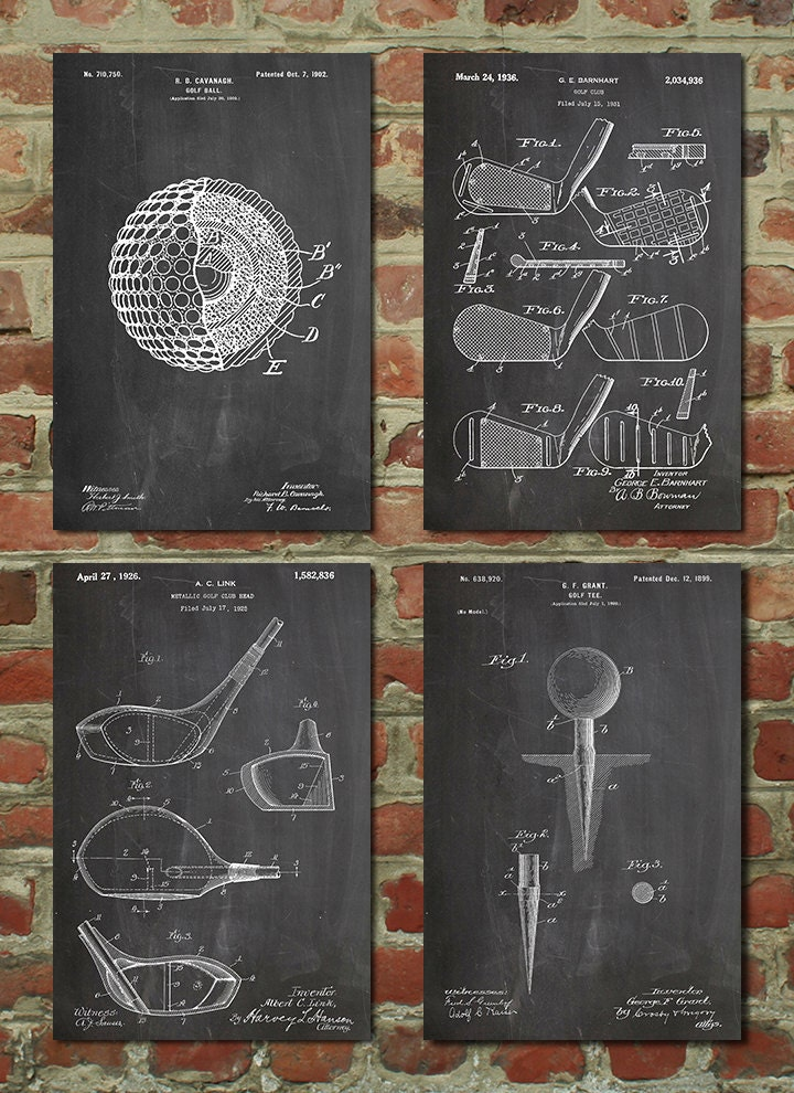 Golf Patent Posters Group Of 4 Golf Gifts For Men Golf Decor Office