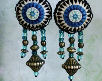 Tribal Hmong Earrings, Embroidered Earrings, Bohemian Chic, Boho Jewelry, Hmong Embroidery