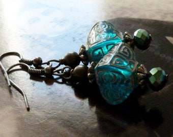 Boho Chic Oriental Asian Style Earrings with Vintage Blue Beads, Boho Jewelry, Bohemain Gypsy Style