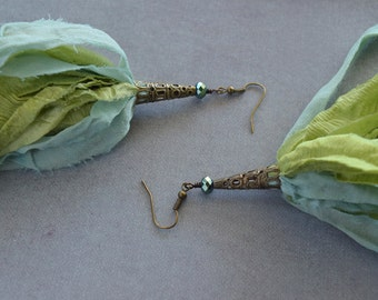 Muted Blue and Green Chiffon Sari Silk Earrings with Green Glass Mirrored Bead