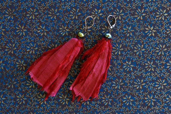 Cranberry sari silk earrings with green faceted mirrored beads