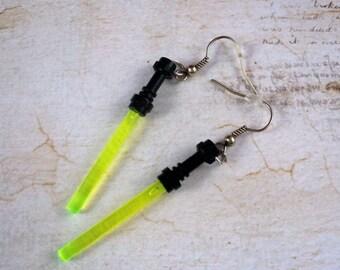 Neon Yellow Translucent Light Saber Earrings, Sci-Fi, Geek, Lightsaber
