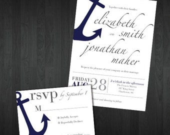 Customized Printable Anchor Wedding Invitation