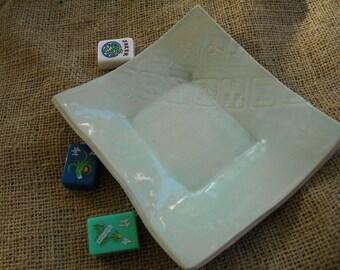Blue Mahjong Dish - Oriental Tableware - Mahjong Snack Plate - Oriental Dish - Unique Pottery - Blue Pottery
