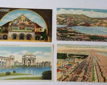 4 Vintage Bay Area California Postcards, Unused