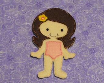 Emily Felt Non Paper Doll - Paper Dol -Unpaper Doll - Quiet Toy - Dress up Doll - Party Favor