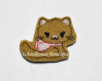 Tan Kitty Cat with Bow felties, feltie, machine embroidered, felt applique, hair bow center, felt embellishment, hair bow supplies