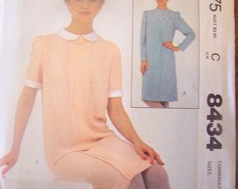 McCalls 8434  Sizes 10-12-14  Womens sewing pattern, UNCUT, Dress, craft, supplies