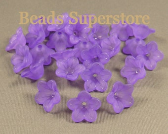 SALE 13 mm x 7 mm Deep Purple Lucite Flower Bead - 20 pcs