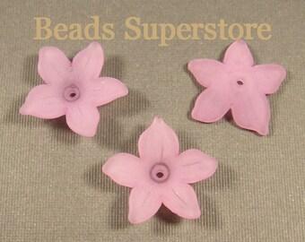 SALE 21 mm x 5 mm Violet Lucite Flower Bead - 12 pcs