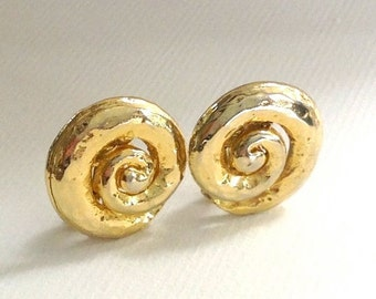 Big Beautiful Bright Vintage Chunky Gold Swirled Clip On Earrings