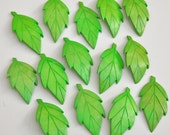 Green Wood Leaf Pendants Charms, Carved Wooden Leaves, Wholesale Lot of 14 Vintage Bright Neon Grass Green, Natural Wood, for Crafts Jewelry