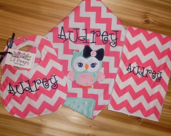 Owl Baby Girl Gift Set! Pink Chevron Minky Blanket, Bib & Burp Cloth - Custom Monogram