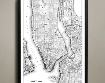 Kaart van NEW YORK CITY Print, Wall Decor voor uw huis of kantoor