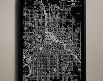 MINNEAPOLIS Map Print, Black and White Minneapolis Wall Art