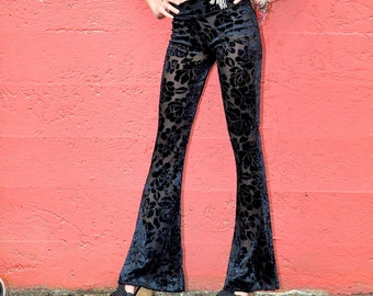 SEXY BLACK VELVET 70's boho burnout velvet  fashion hippie dance yoga festival burning man gypsy flare bell bottom pants (or leggings)