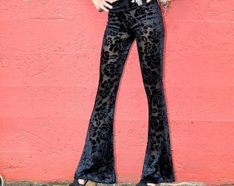 SEXY BLACK VELVET 70's boho burnout velvet  fashion hippie dance yoga festival burning man gypsy flare bell bottom pants (or leggings)