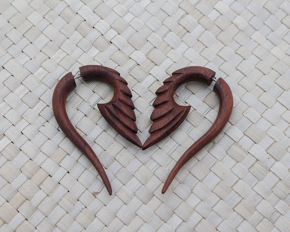 Fake Piercing Wooden Tribal Earrings - Fake Gauge Wooden Earring - Fake Piercing Earring