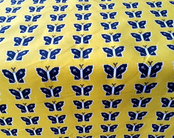 Vintage mod retro fabric butterfly  scandinavian design  70s. Made in Sweden.