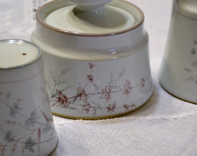 Noritake Woodstock Sugar Bowl Creamer Salt Shaker Replacement Gray Taupe Floral PanchosPorch