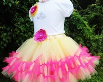 Girls Hawaiian  Princess Tutu Set For Birthdays Custom Made Newborn, 12 Months to 7 Years