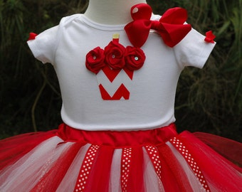 Girls Firts 1st Birthday Red Chevron Tutu Set Sewn And Hand Cut Includes Bow And Personalized Name