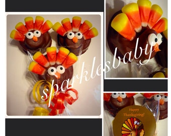 Thanksgiving Turkey Oreo Pops - Set of 12 Chocolate Turkey lollipops