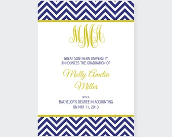 Navy and Gold Graduation Announcement