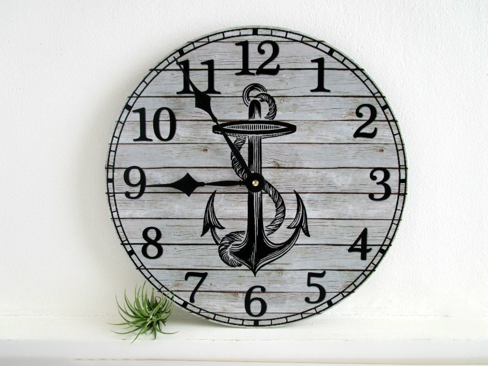 nautical wall clock with anchor beach house wall decor. Black Bedroom Furniture Sets. Home Design Ideas