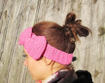 20% off  SALE! Ready to ship! pink Headband Crochet Headband Bun Earwarmer Head Wrap pink headband Hat Girly Romantic  pink headband