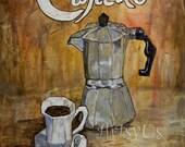 Cafecito print, cuban coffee, cuban purculator