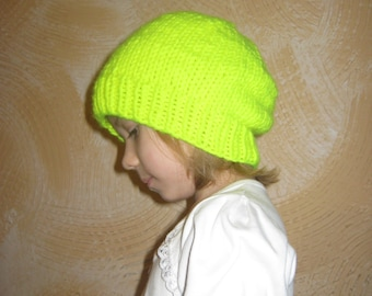 Neon yellow hat. Neon knitted baby hat.