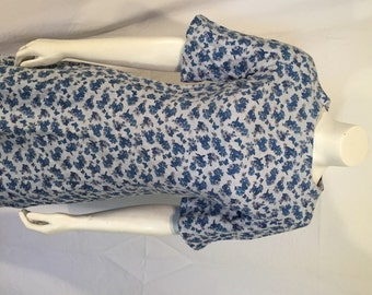 Blue Floral Cotton Mid Century Short Sleeve Shift Dress Size Medium M