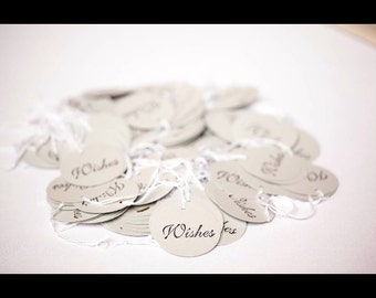150 Grey Wishing Tree tags with string