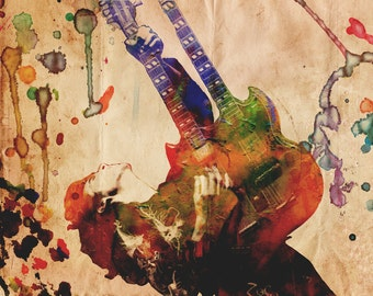 Jimmy Page Art, Led Zeppelin Artwork, Classic Rock Watercolor