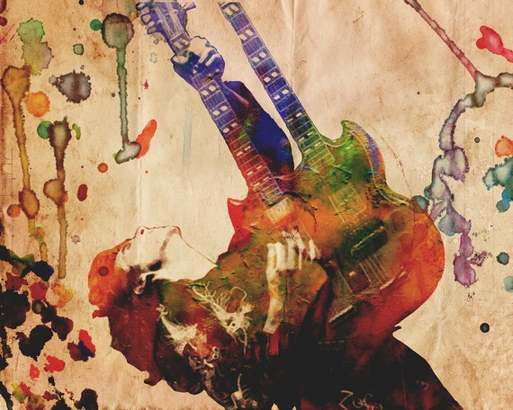 Jimmy Page Art Led Zeppelin Artwork Classic Rock Watercolor