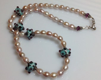 Art Glass  Freshwater Pearls  Necklace  Sterling Silver  Sky Blue  Purple