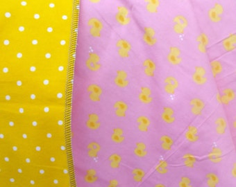Yellow Ducks on Pink Flannel Receiving or Swaddling Blanket, Double Layer, 2 Layer Serged Blanket, New Design, Crib or Stroller Blanket