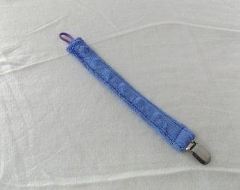 Universal Pacifier Clip, Long Binky Clip, Toy Clip, Purple Minky, Elastic Loop