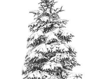 Set of 10 Christmas cards of a hand drawn snowy pinetree, printed on recycled paper with red envelopes