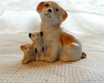 Old Mother Dog and Puppies Figurine- Cute Depiction- Dated 1935- Stamped Made in Japan- In Red- Unique Dog Figurine- Puppies- Small Figures