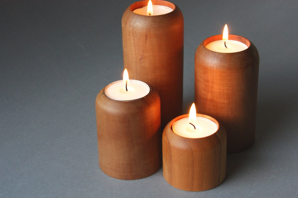 4 candle holder wood cylindrical wooden candlesticks for Wooden candlesticks for crafts