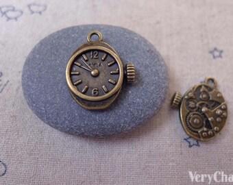 20 pcs of Antique Bronze Mechanical Watch Clock Charms Pendants  12x20mm A7339