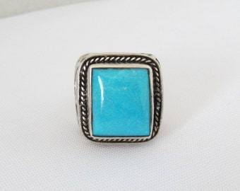 Vintage Sterling Silver Turquoise High Dome Ring Size 8