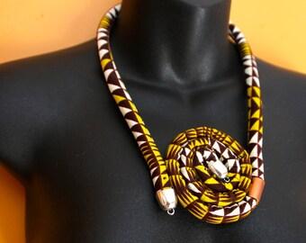 African Print Rope cloth Necklace, Layered african fabric, ankara print, custom made.