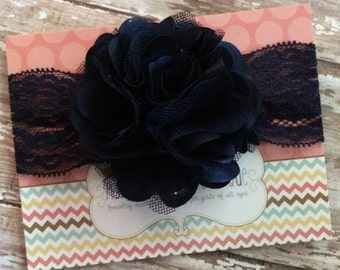 Navy satin mesh flower headband