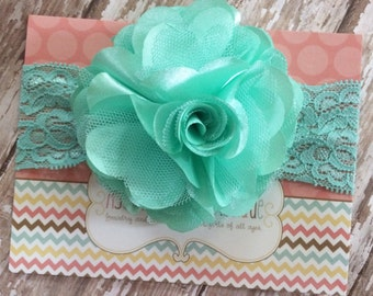 Mint satin mesh flower headband