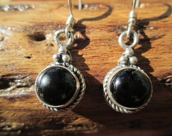 Black Onyx and Sterling Silver  DanglePost Earrings