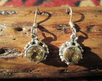 Citrine and Sterling Silver  Post Earrings