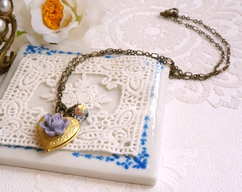 Brass Locket necklace antique inspired jewelry Swarovski crystal Lavender color Heart locket Gift necklace